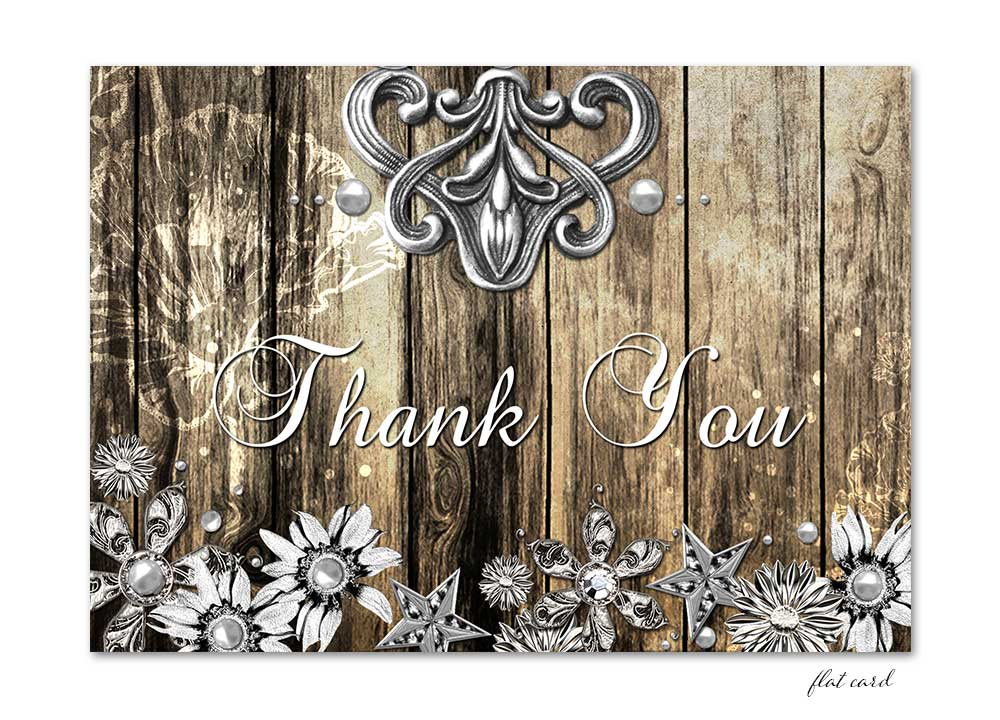 Rustic Wood and Metal Flat Thank You Card