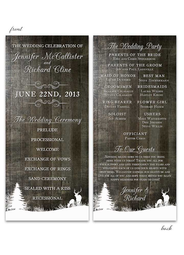 Winter Deer Wedding Program