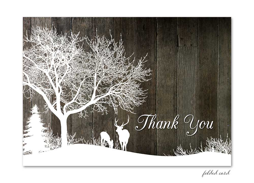 winter deer folded thank you card - gray wood