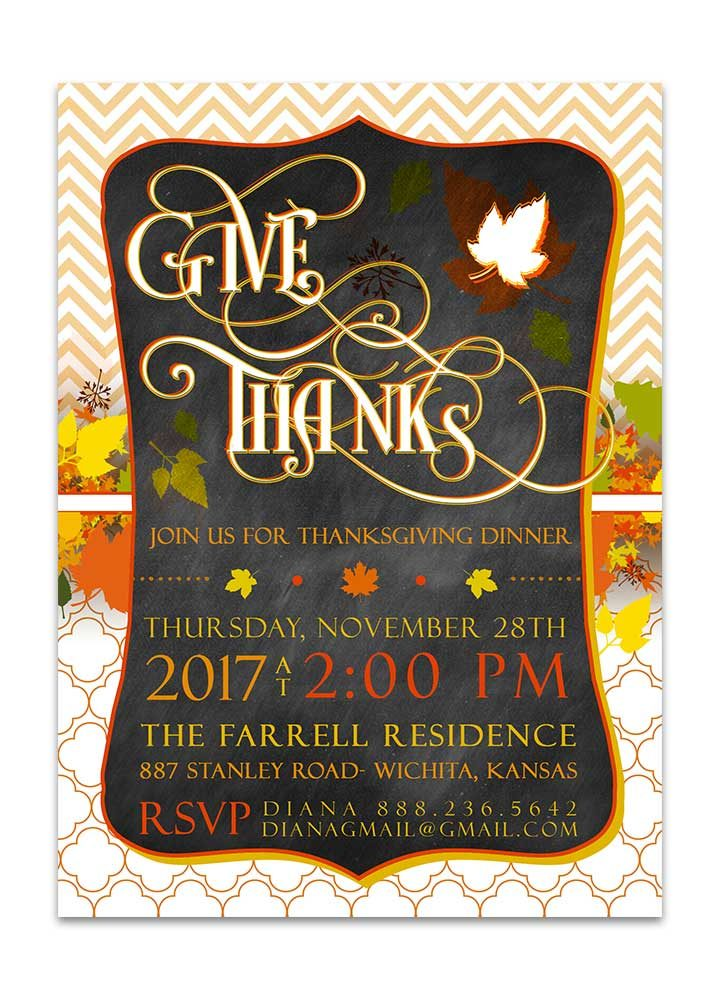 Chevron Chalkboard Thanksgiving Dinner Invitation