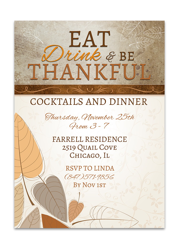 Thanksgiving Dinner Invitation with Leaves