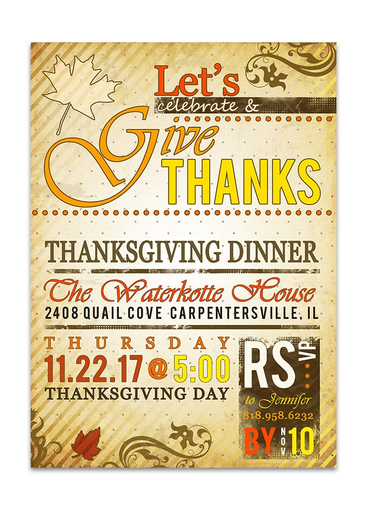 Poster Style Thanksgiving Dinner Invitation