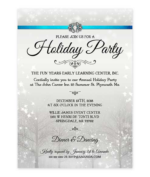 Elegant Pearl Winter Wonderland Christmas Party Invite