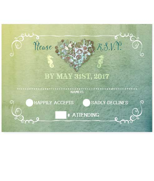Nautical Hearts Beach Flat RSVP Card - Green