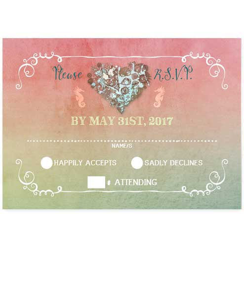 Nautical Hearts Beach Flat RSVP Card - Pink
