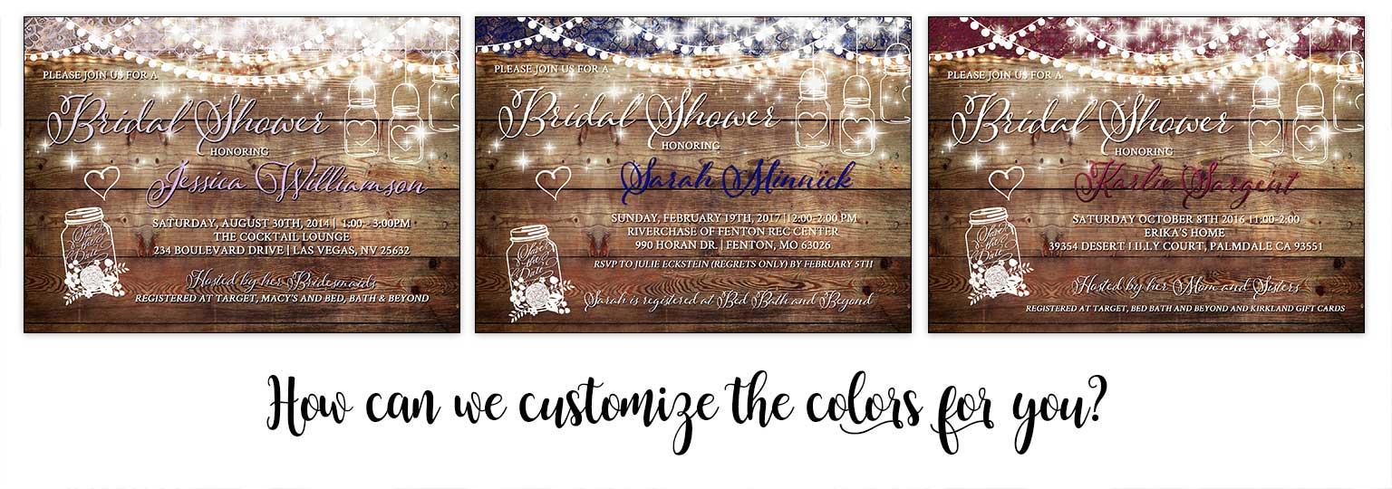Mason Jar Wood Bridal Shower Invitation