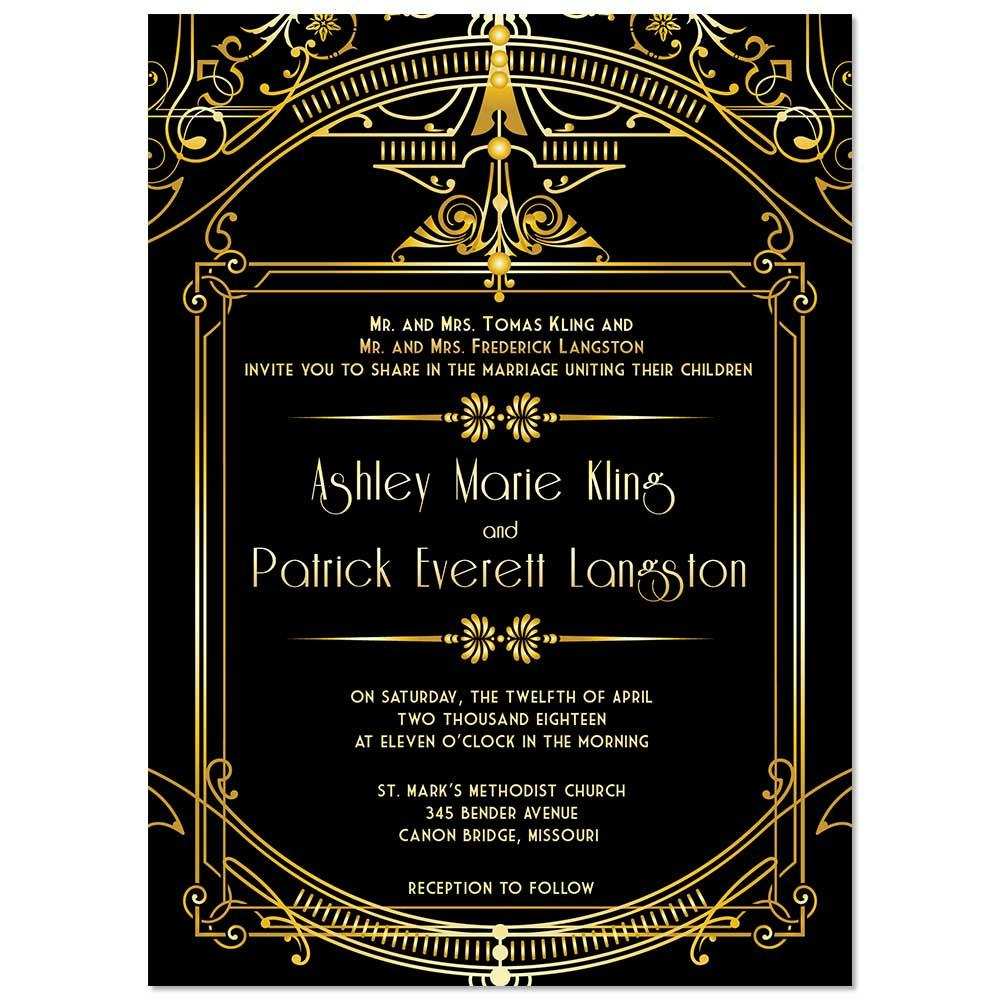 Art Deco Gatsby Inspired Wedding Invitation