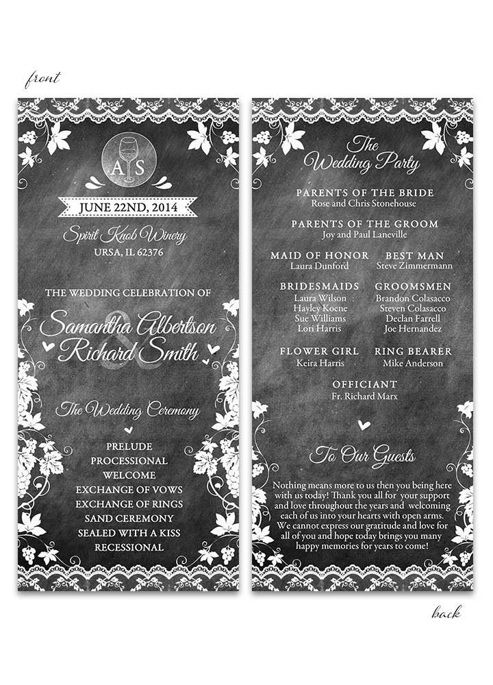 Vineyard Chalkboard Wedding Program