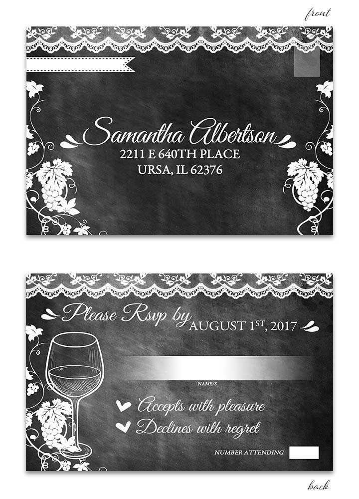 Vineyard Chalkboard RSVP Postcard