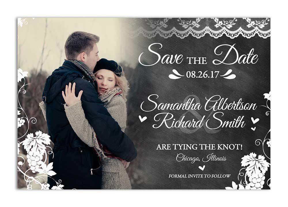 Vineyard Chalkboard Save the Date Card