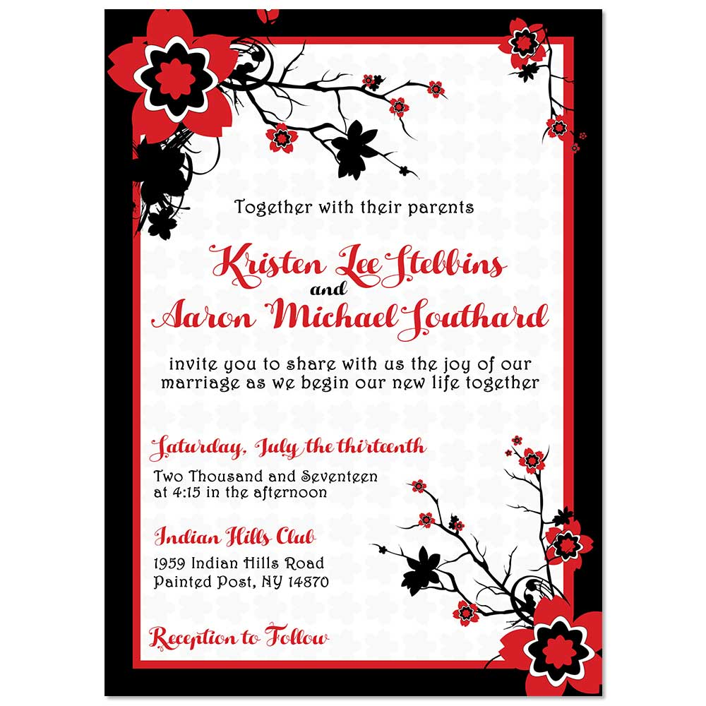 Japanese cherry blossom rsvp response card for weddings japanese cherry blossom wedding invitation stopboris Image collections