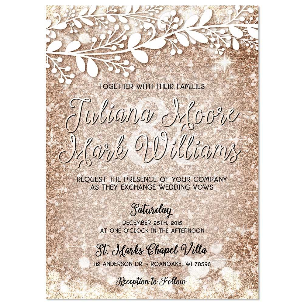 Glitter Inspired Rose Gold Wedding Invitation