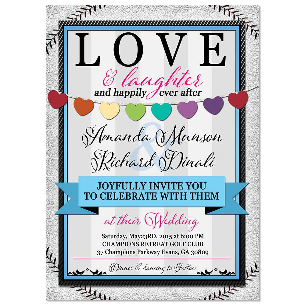 Baseball Hearts Flat RSVP Response Card with matching Invitations