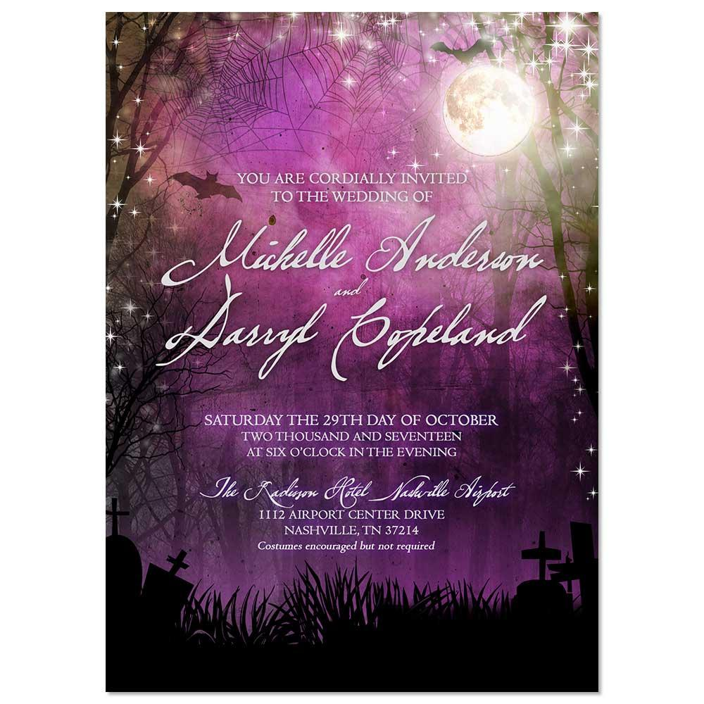 Scenic Spooky Halloween Moon Wedding Invitations