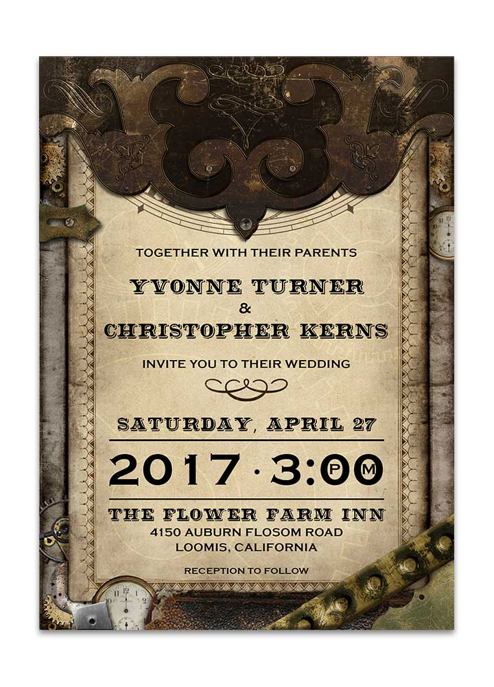 Steampunk Old World Wedding Invitation