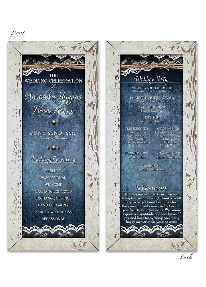 Shabby Chic Denim & Lace Wedding Program