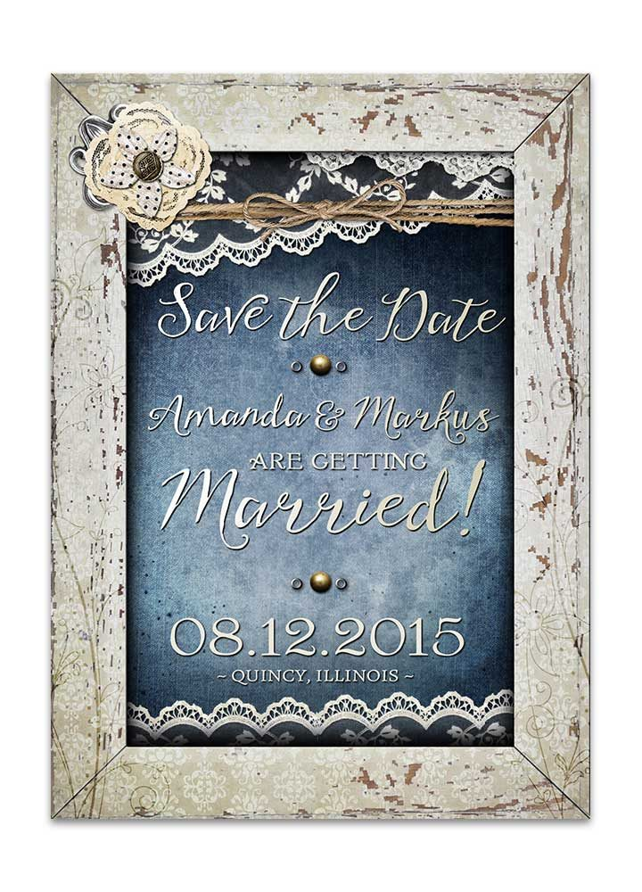 Shabby Chic Denim & Lace Save the Date Card