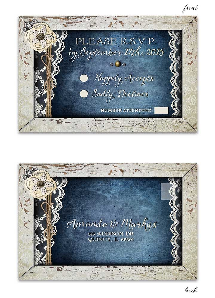 Shabby Chic Denim & Lace RSVP Postcard