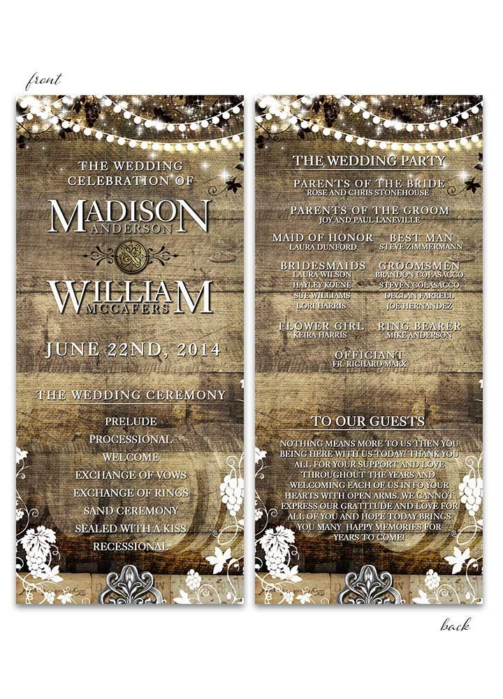 Rustic Vineyard with Lights Wedding Program