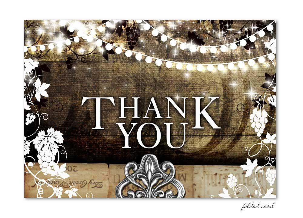 Rustic Vineyard with Lights Folded Thank You Card