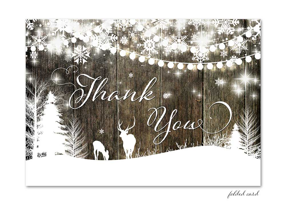 Winter Deer with Lights Folded Thank You Card