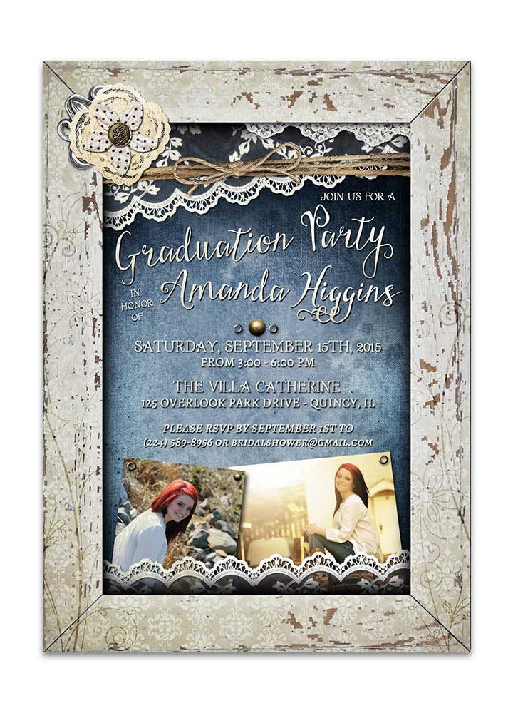 Shabby Chic Denim & Lace Graduation Invitation