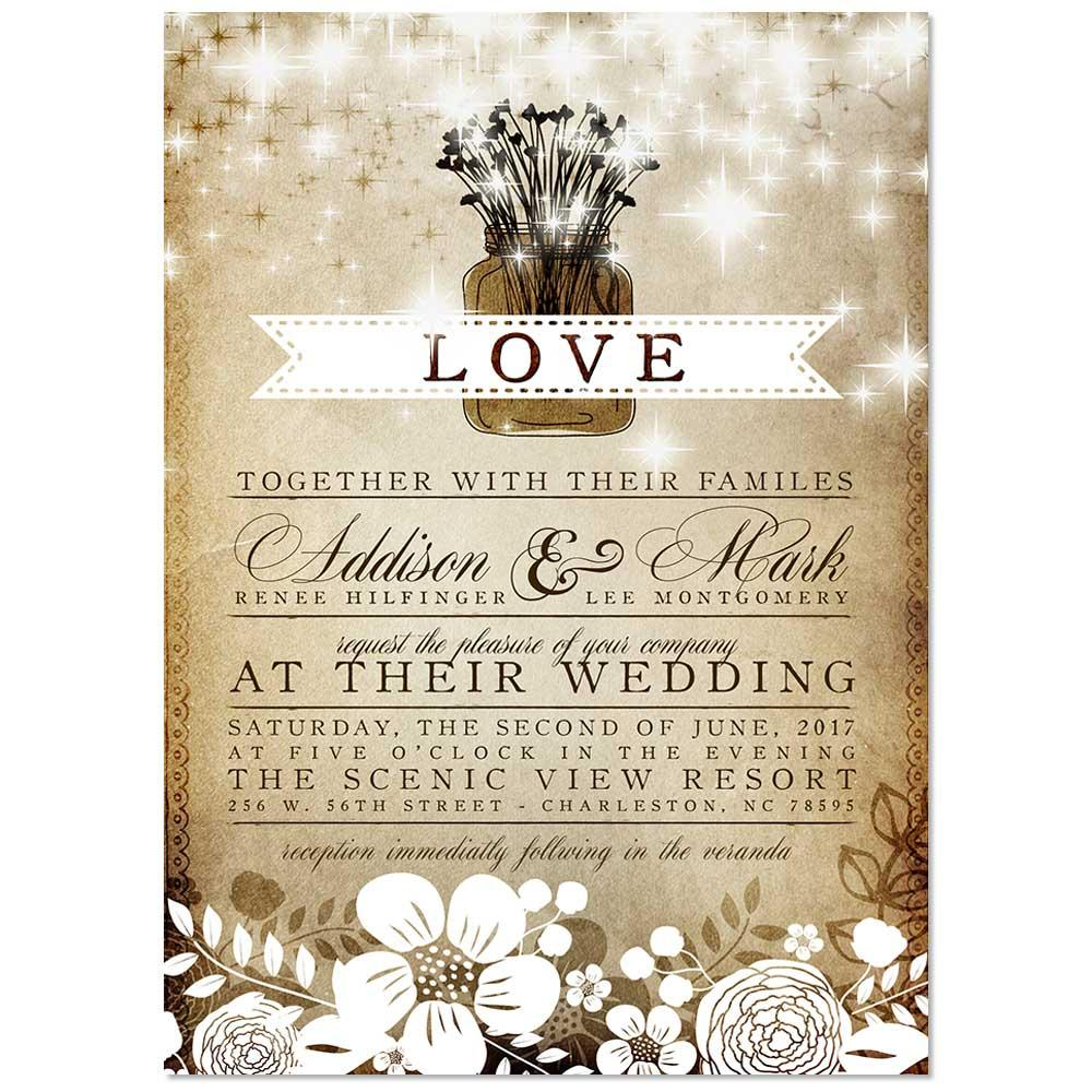 Vintage Floral Mason Jar Wedding Invitation