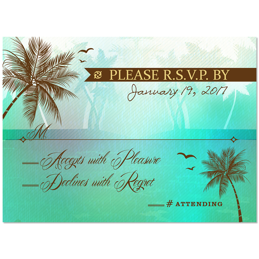 Beach Palm Tree RSVP Card Green