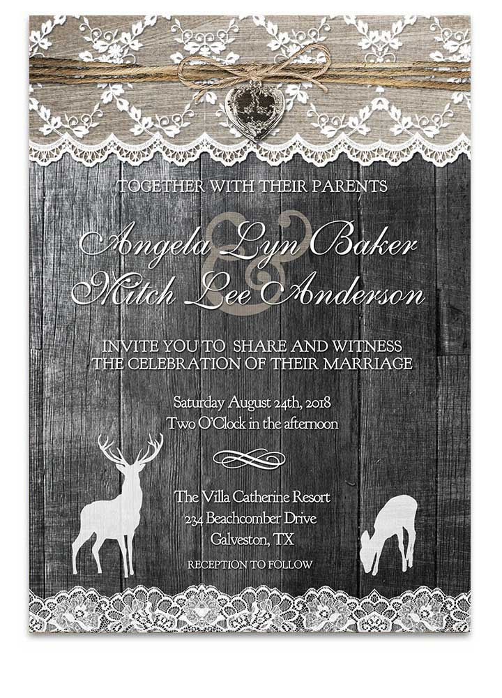 Country Rustic Chic Deer Wedding Invitation