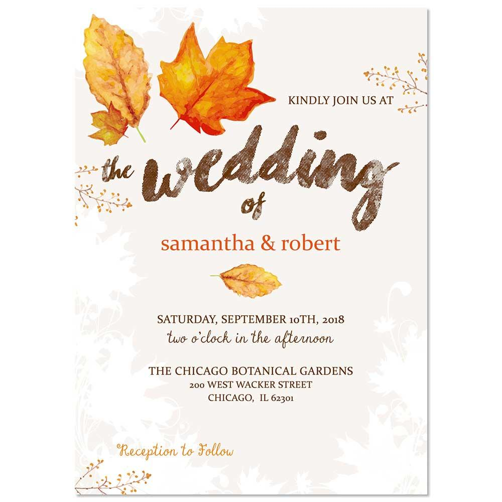 Fall Leaves Watercolor Wedding Invitation