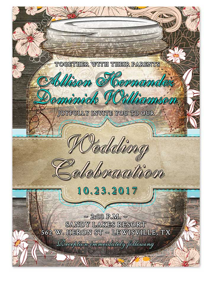 Rustic Floral Mason Jar Wedding Invitation