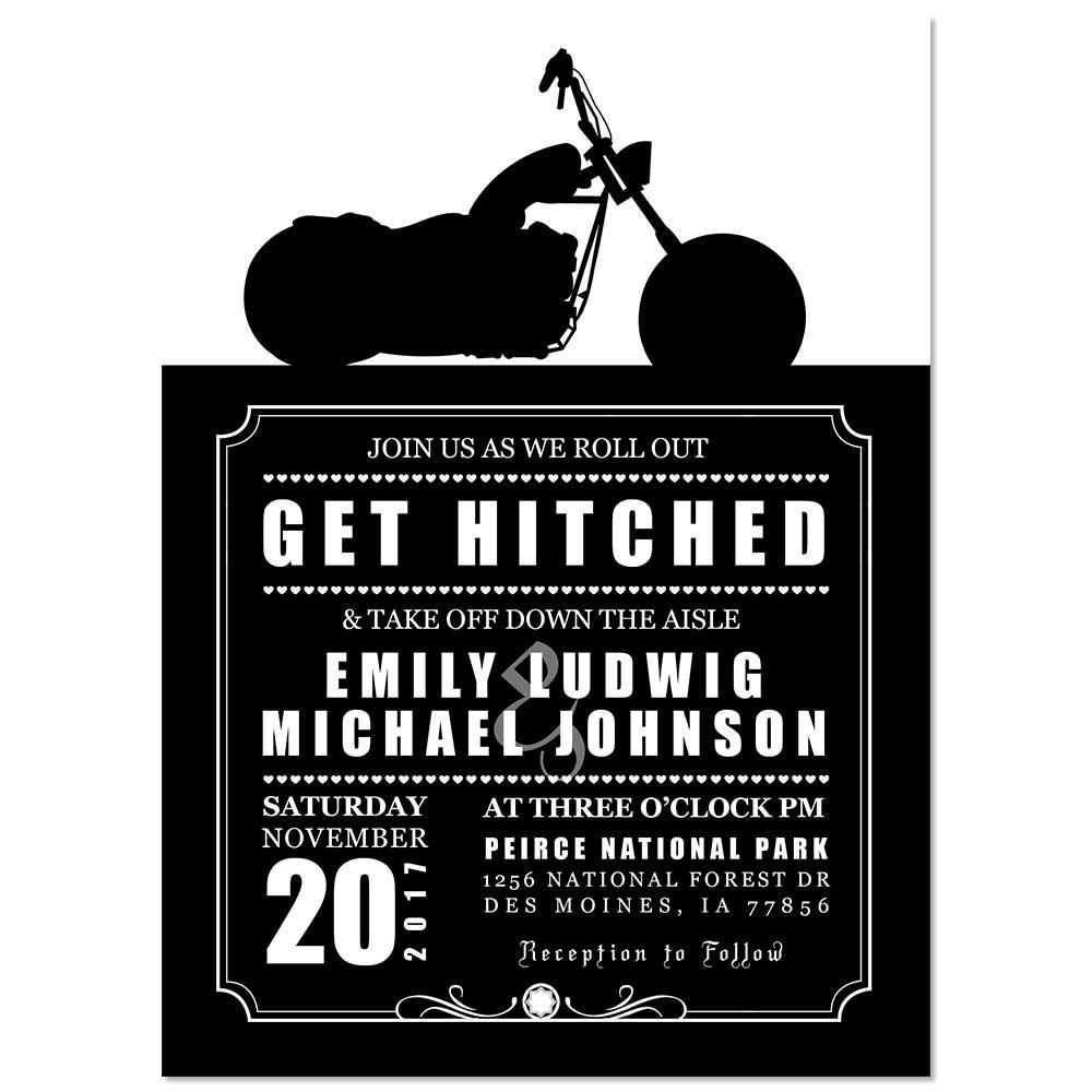 Motorcycle Biker Theme Custom Wedding Invitation