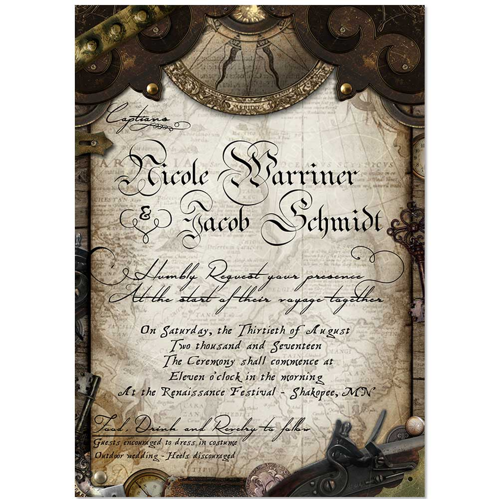 order online invitations steampunk old world pirate wedding invitation - Steampunk Wedding Invitations