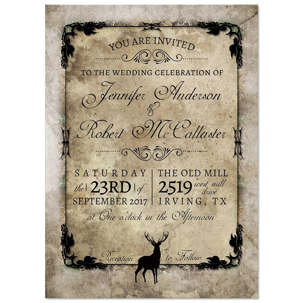 Rustic Buck Deer Wedding Invitation - Camouflage