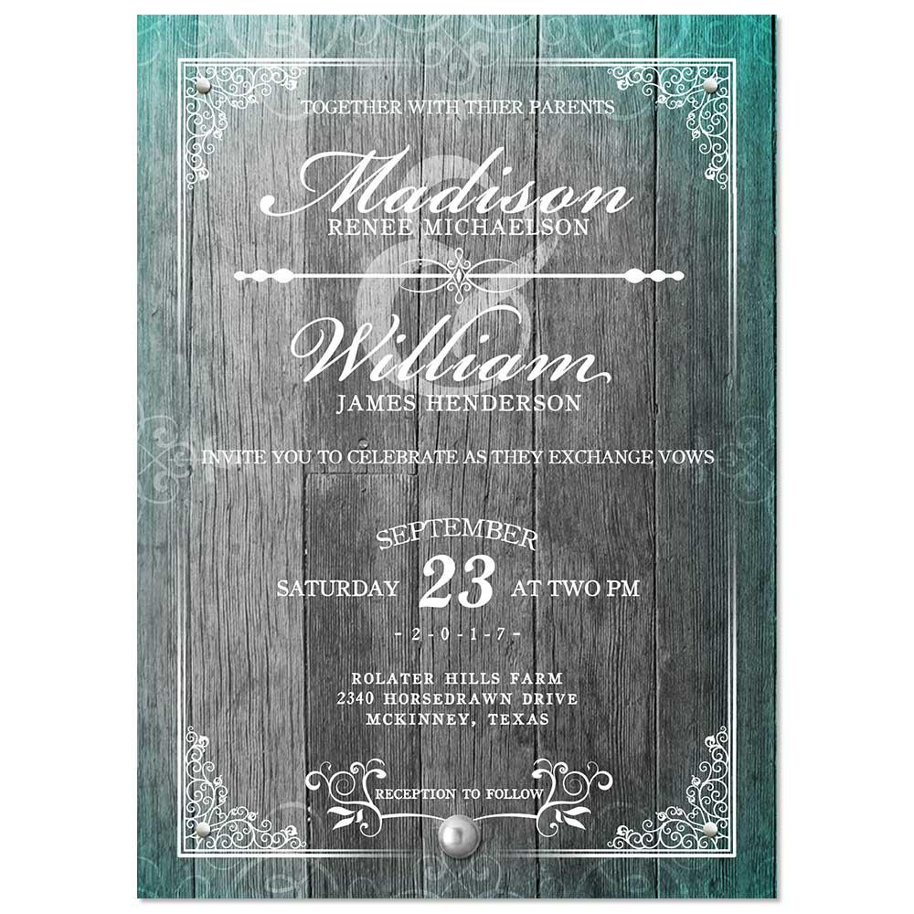 Rustic Elegant Frame Wedding Invitation - Grey Wood