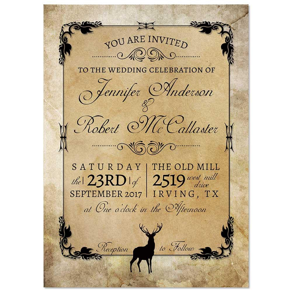 Rustic Buck Deer Wedding Invitation - Kraft