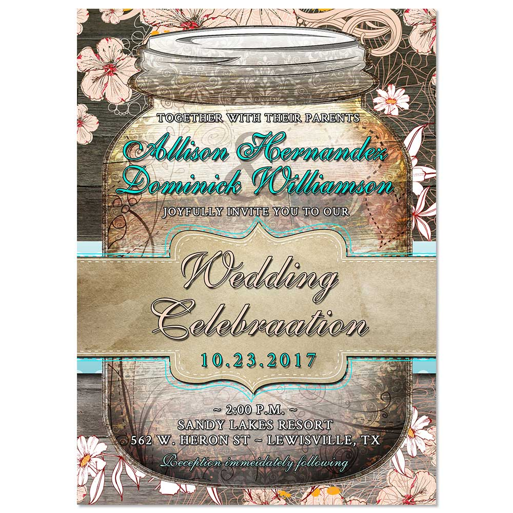 rustic floral mason jar wedding invitation - Country Rustic Wedding Invitations