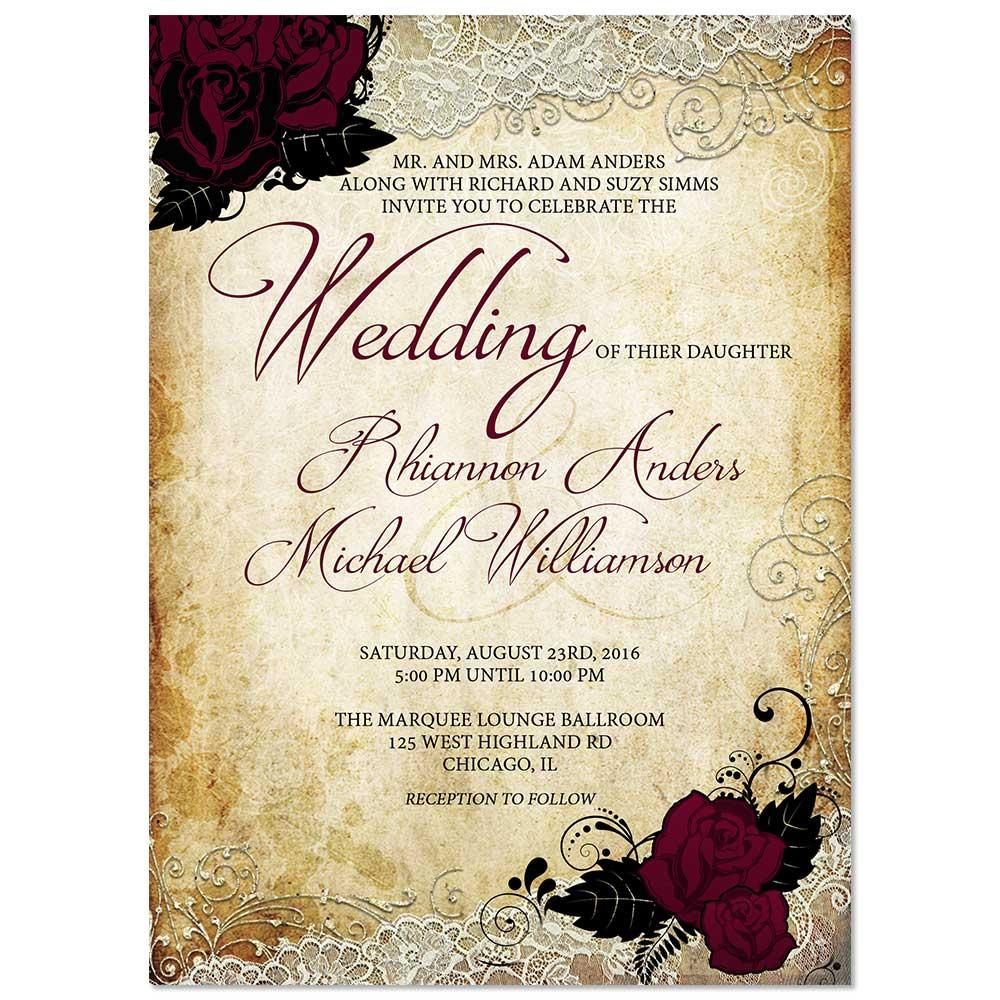 Vintage Rose Lace Wedding Invitation