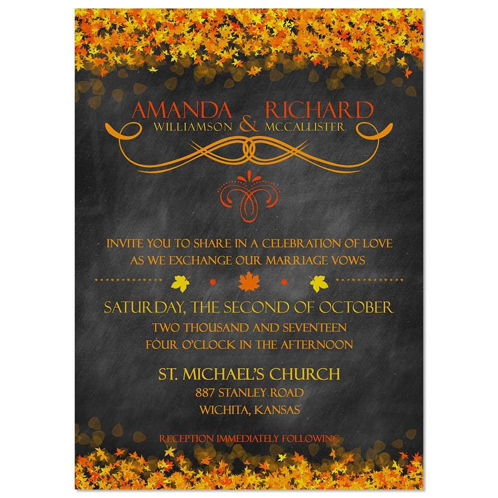 Chalkboard Fall Leaves Wedding Invite Orange
