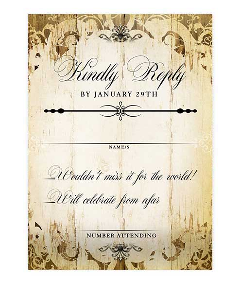 Fancy Ornate Rustic Wood Wedding Response Card