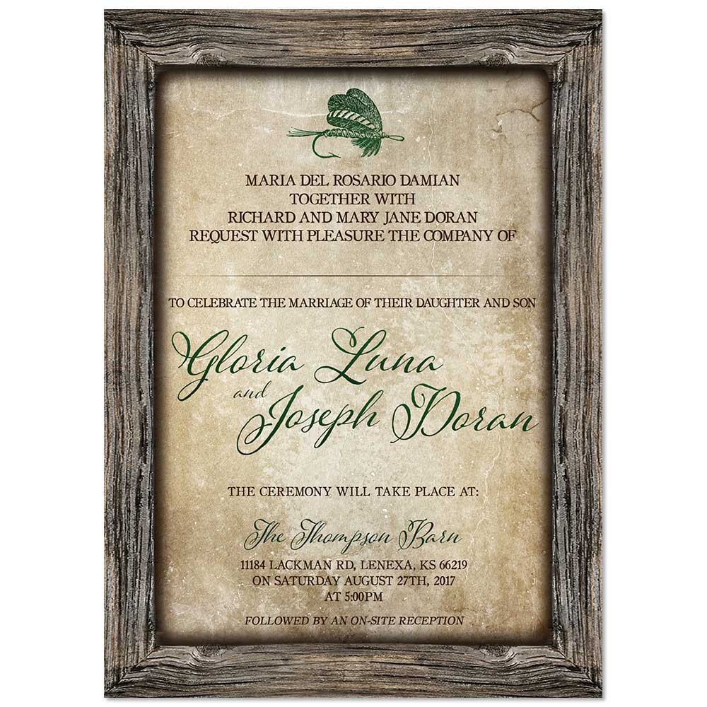 Gift items online chalkboard invite for autumn rustic for Fishing wedding invitations
