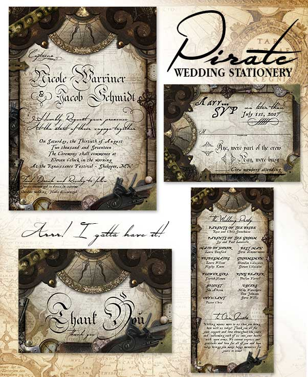 pIRATE THEMED WEDDING INVITATION SUITE