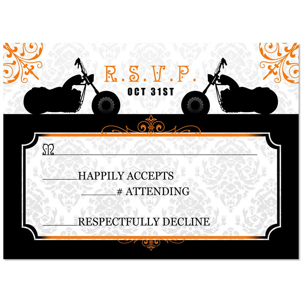 Motorcycle Fancy Flourishes Wedding RSVP
