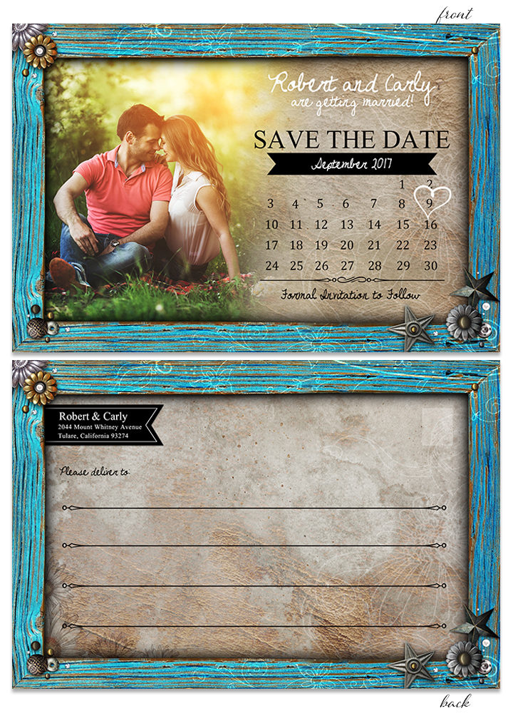 Rustic Turquoise Frame STD Calender Postcard