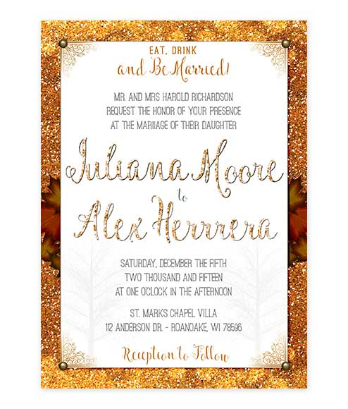 Autumn Glitter Fall Leaves Wedding Invitation