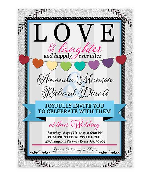 Baseball Hearts Wedding Invitation