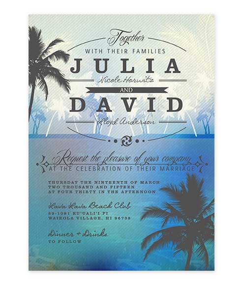 Beach Palm Tree Wedding Invitation Blue
