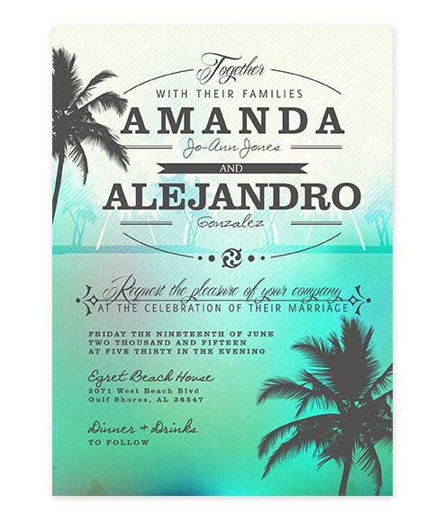 Beach Palm Tree Wedding Invitation Green
