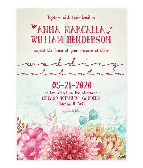 Boho Chic Colorful Floral Wedding Invitation