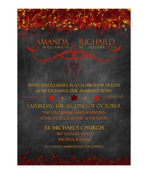 Chalkboard Fall Leaves Wedding Invitation Red